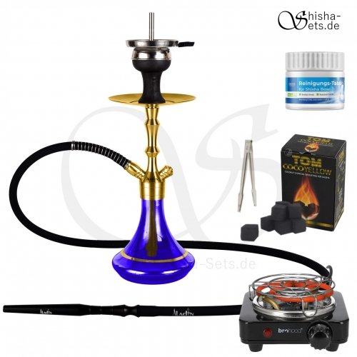 Shisha Set Aladin MVP 360 Gold Edition - Blau