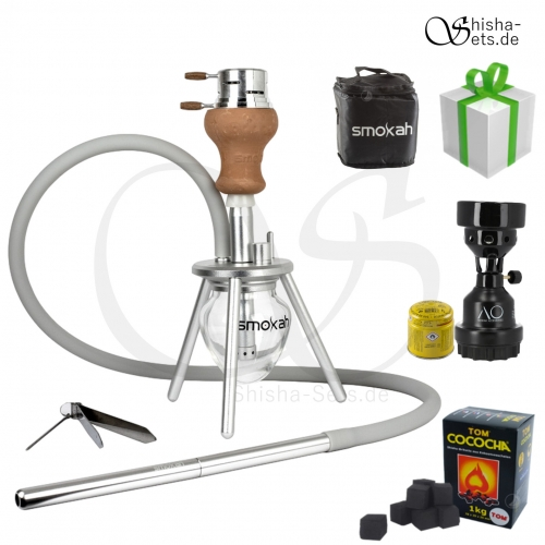 Shisha Set Smokah To Go Aluminium - Silber