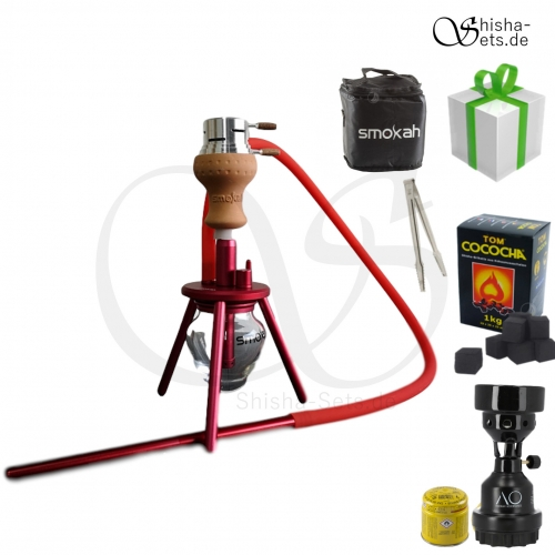 Shisha Set Smokah To Go Aluminium - Rot