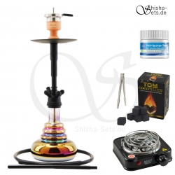 Shisha Set Amy Big Cloud Rainbow - Schwarz/Schwarz-Matt